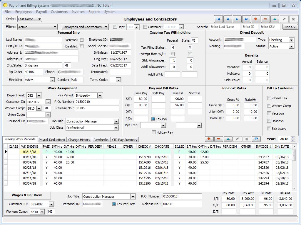Payroll and Billing Application screenshot
